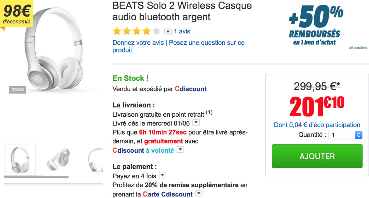 Beats Solo2 Wireless CDiscount