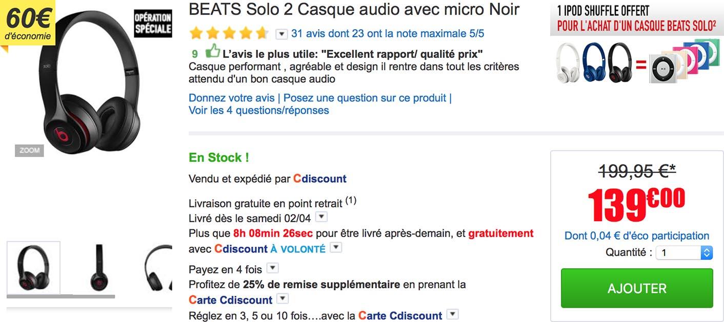 Beats Solo2 iPod shuffle