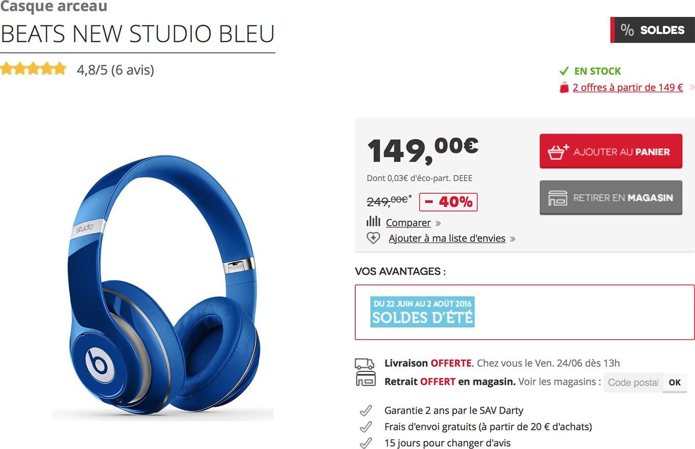 Consomac Un Casque Beats Studio Sans Fil à 149