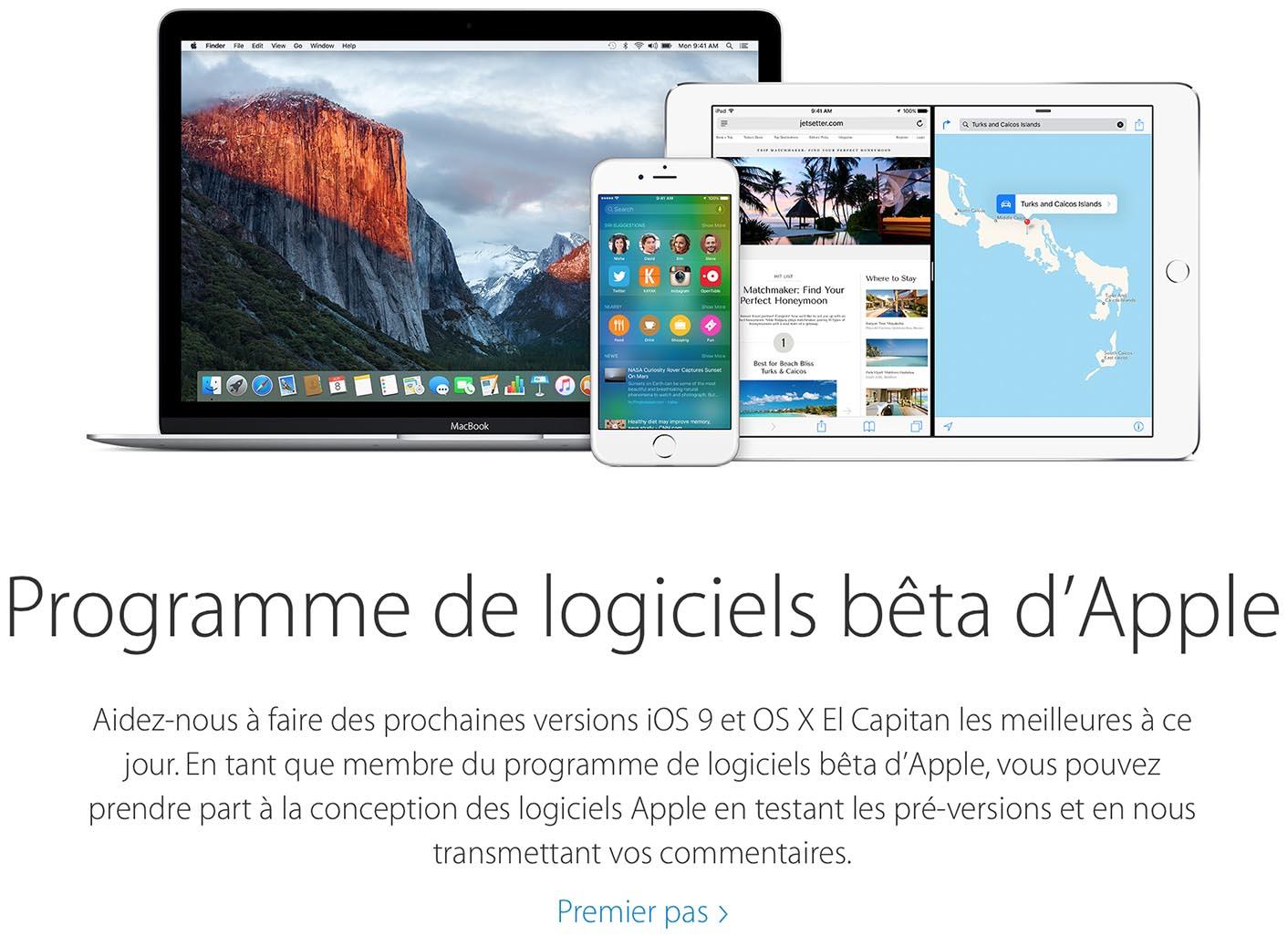 iOS 9 OS X 10.11 El Capitan Bêta publique