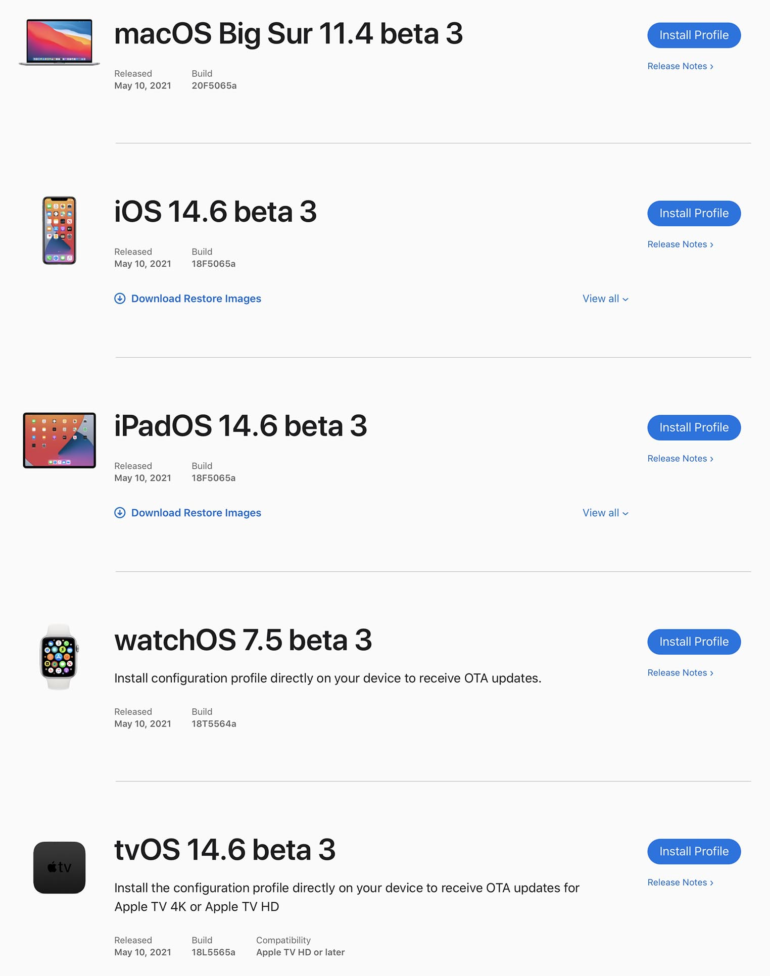 Bêtas OS Apple