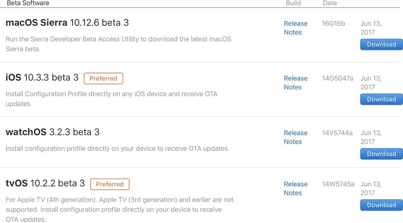 Apple OS betas