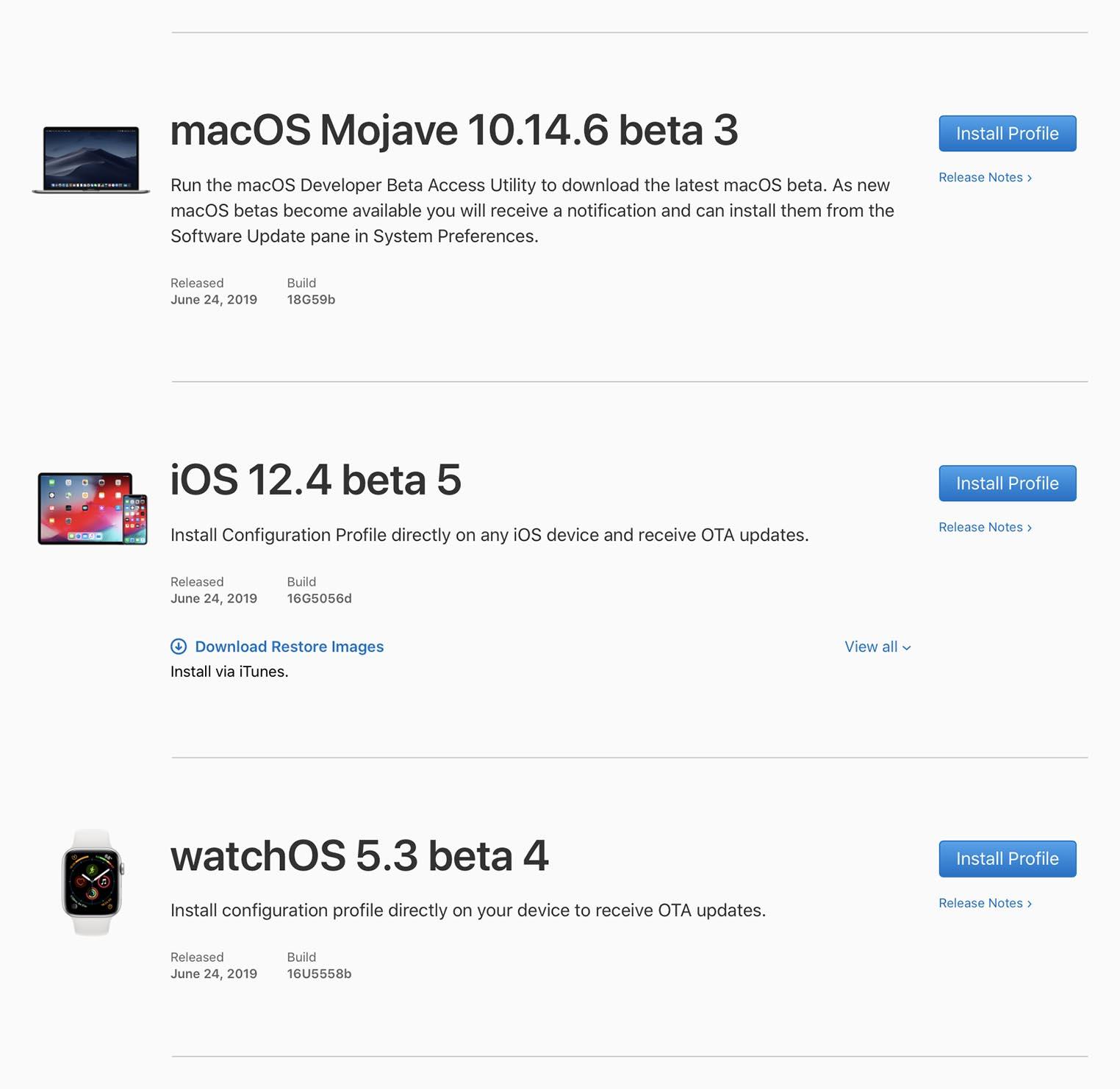 Apple betas juin 2019
