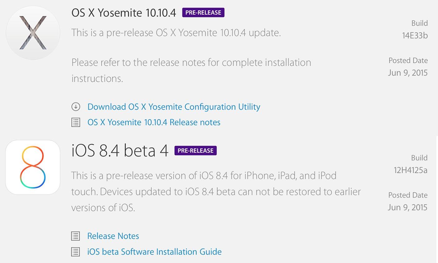 Betas OS X iOS