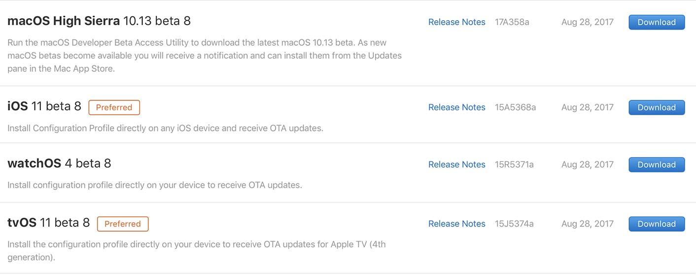 Apple OS Beta 8 aout 2017