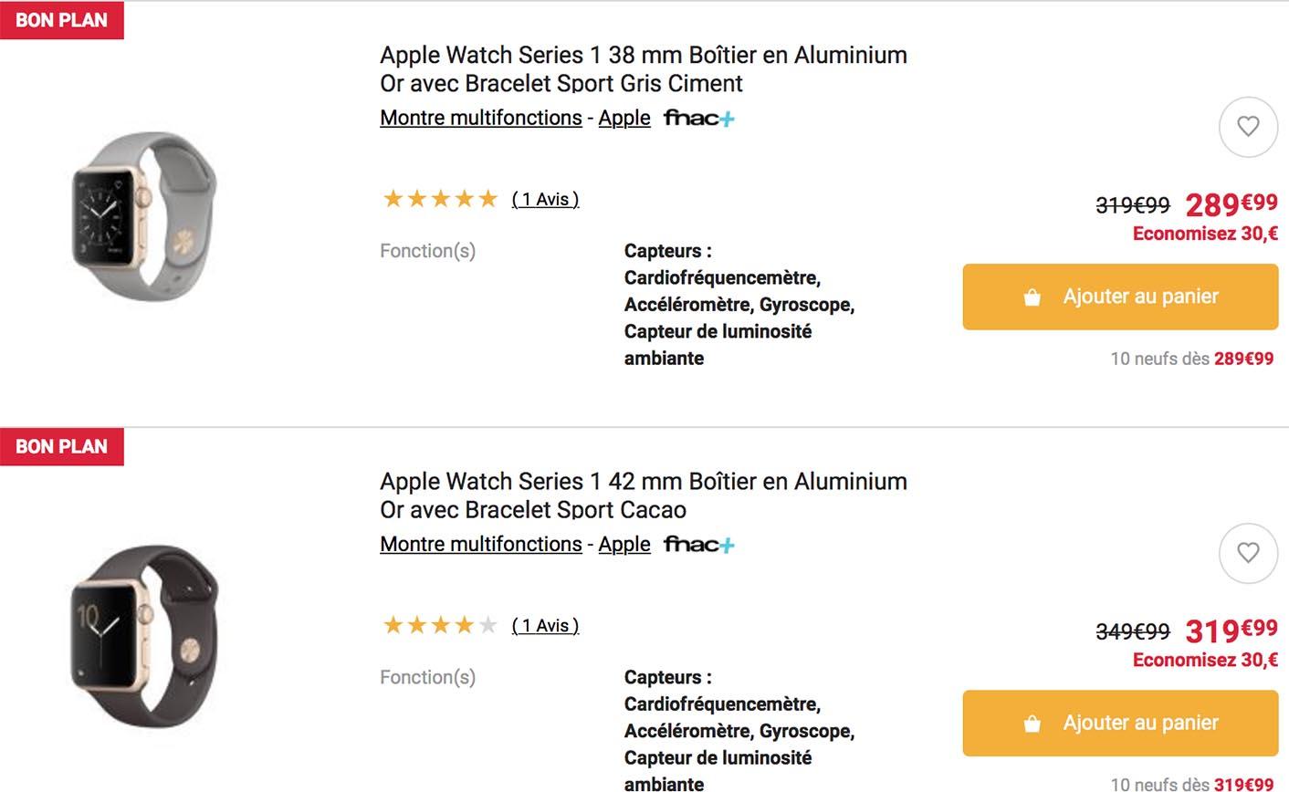 Apple Watch Series 1 promo Fnac