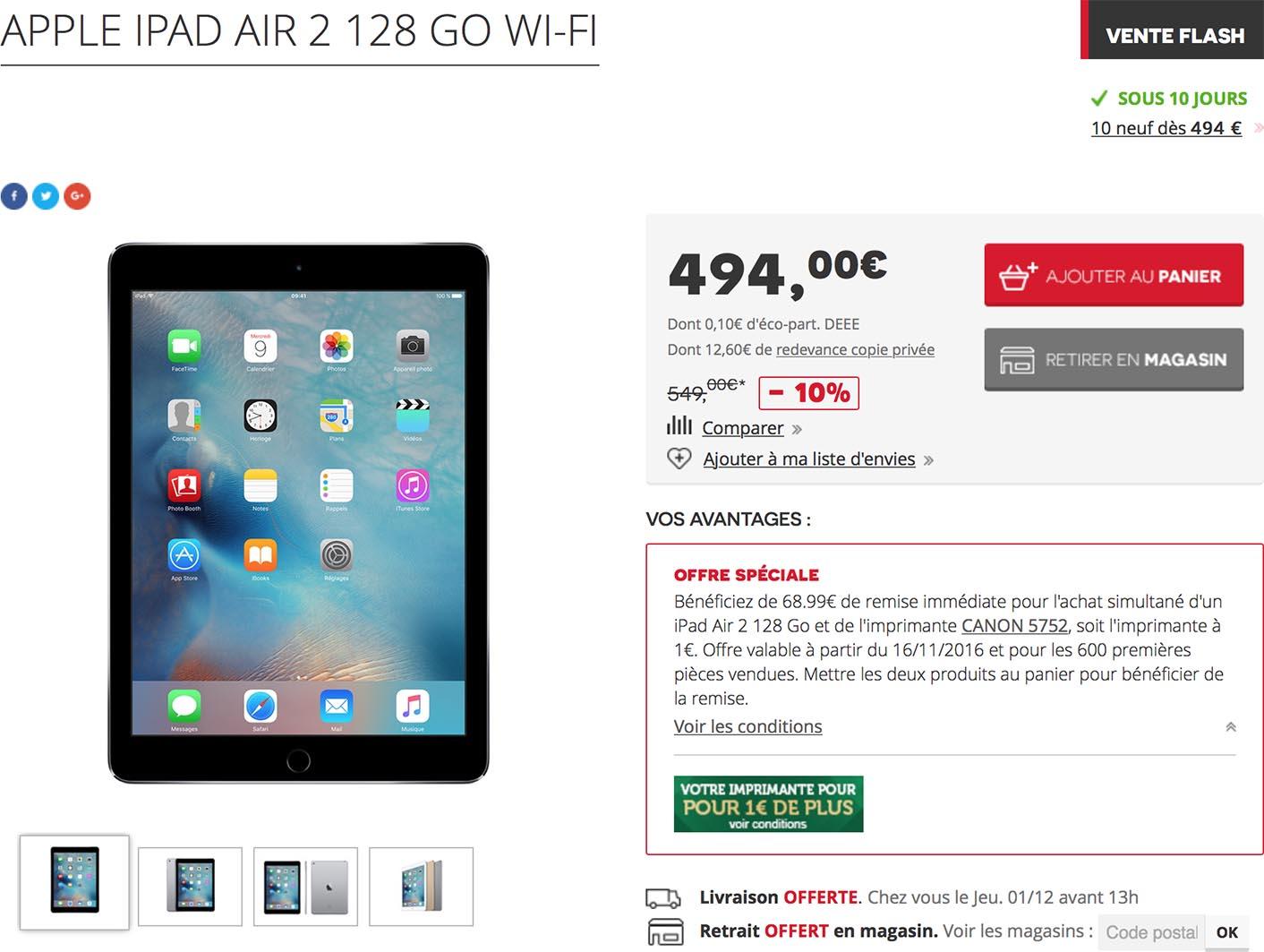 iPad Air 2 promo Darty