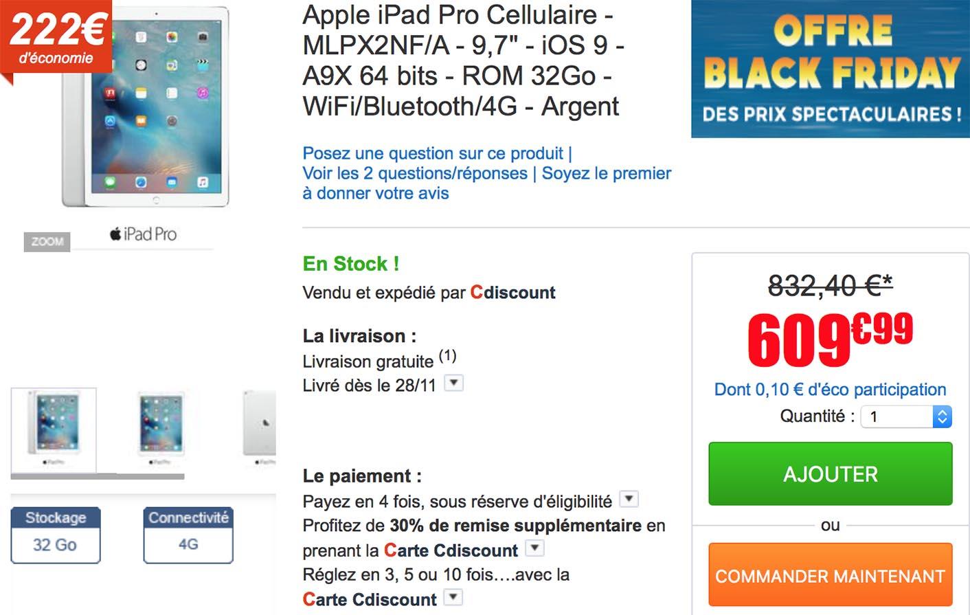 iPad Pro Black Friday CDiscount
