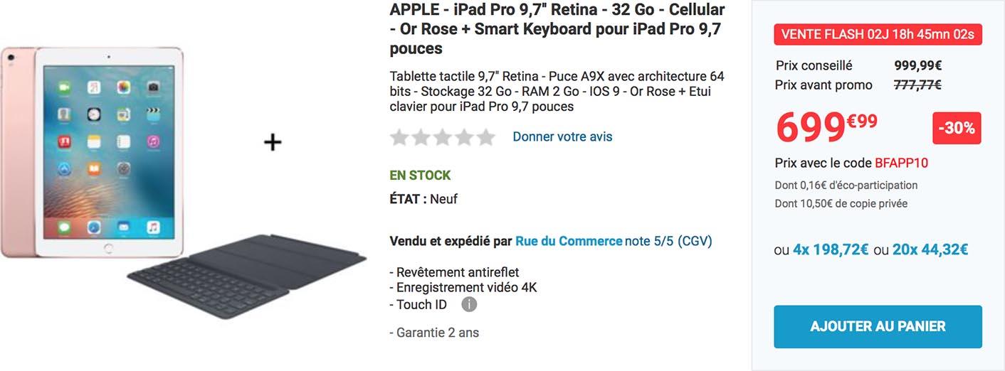 iPad Pro Smart Keyboard promo Rue du Commerce