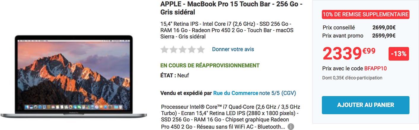 MacBook Pro Touch Bar promo Rue du Commerce