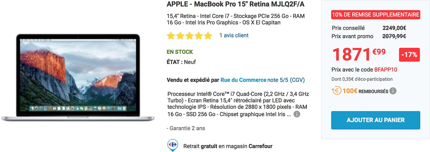 MacBook Pro 15 promo Rue du Commerce