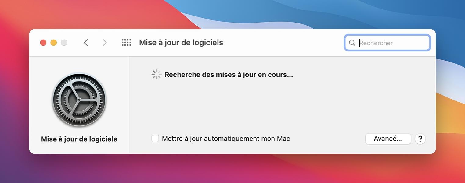 Mise à jour macOS Big Sur