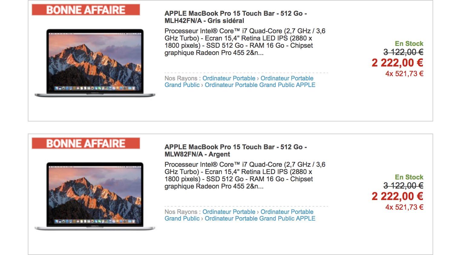 MacBook Pro Rue du Commerce promo