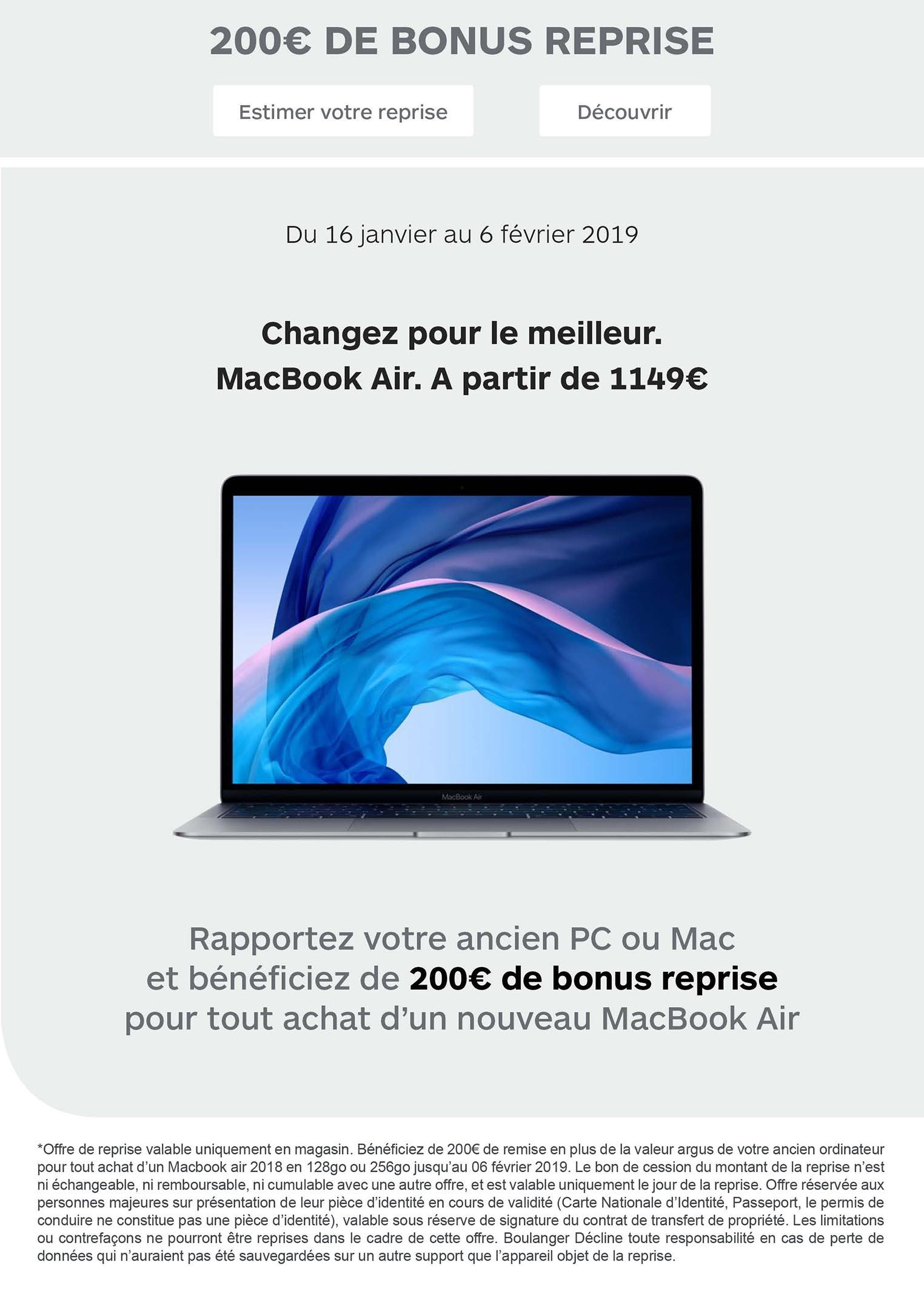 Bonus reprise MacBook Air Boulanger