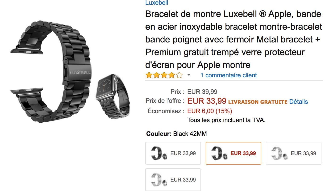 Promo bracelet Apple Watch acier