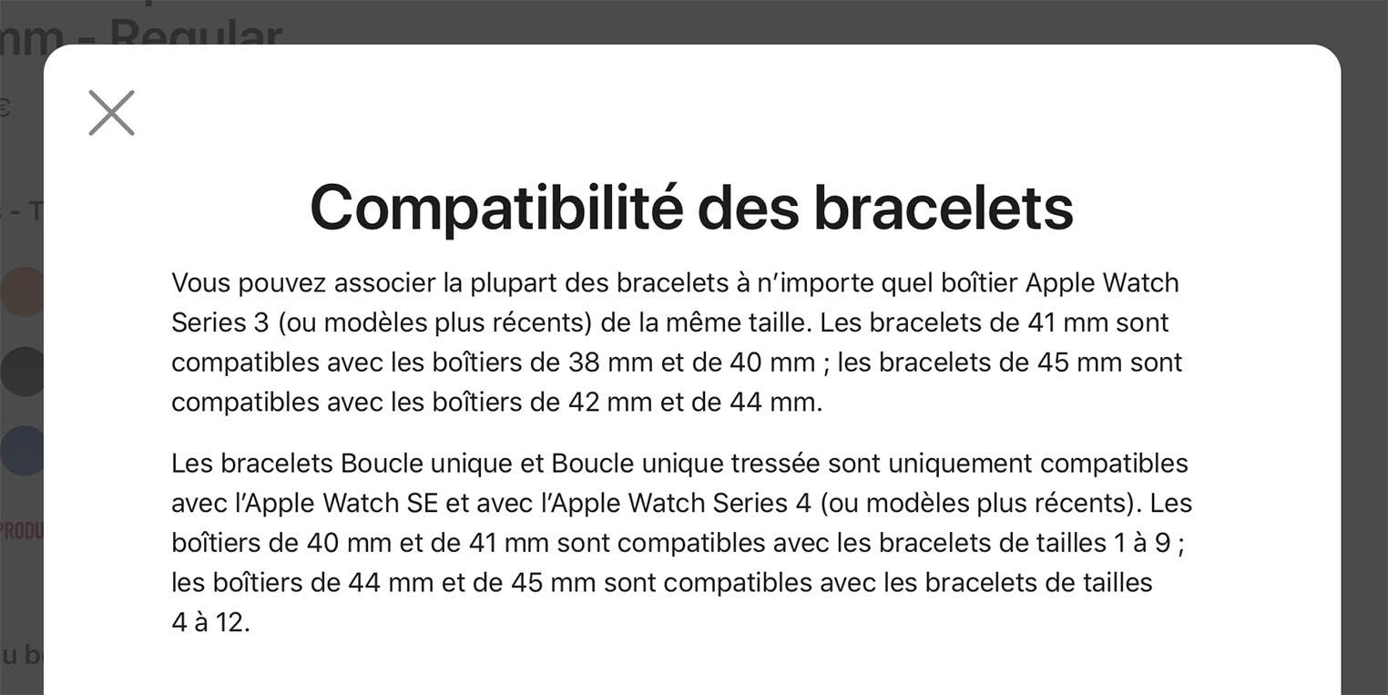 Compatibilité bracelets Apple Watch Series7