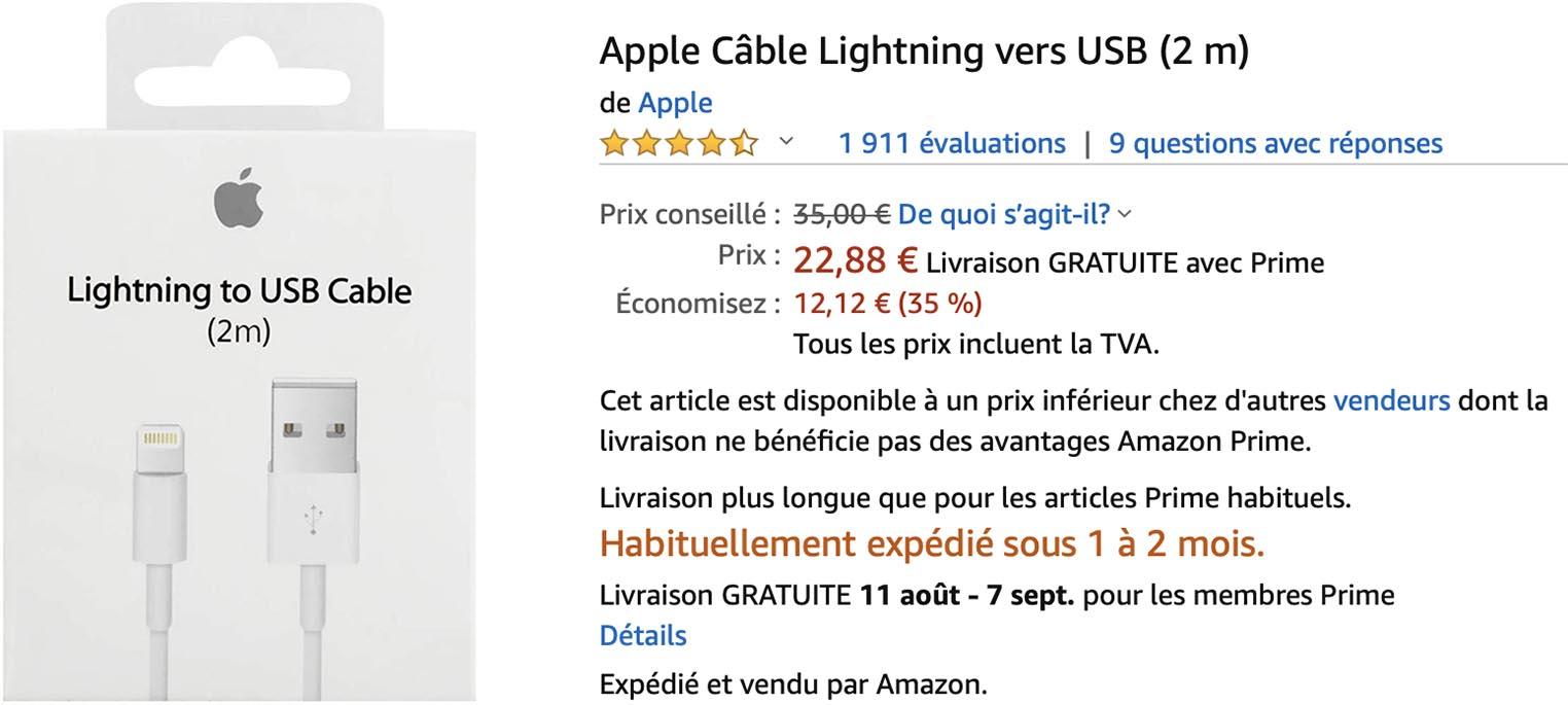 Câble Lightning Apple 2m Amazon