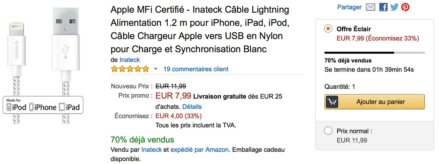 Câble tressé Lightning Amazon