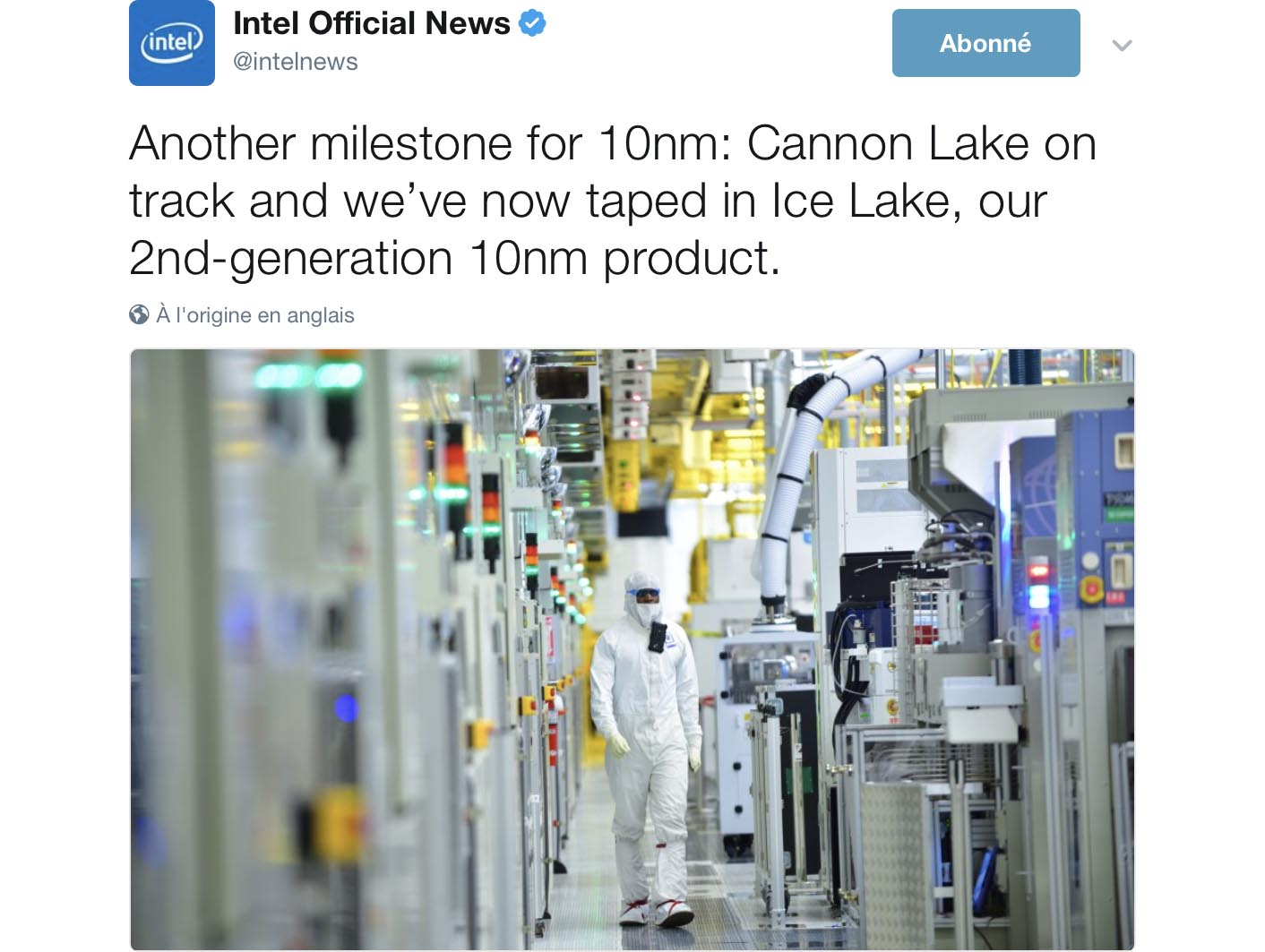 Cannon Lake Ice Lake Intel tweet