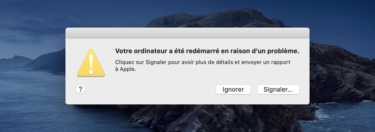 Votre ordinateur a redémarré en raison d'un problème