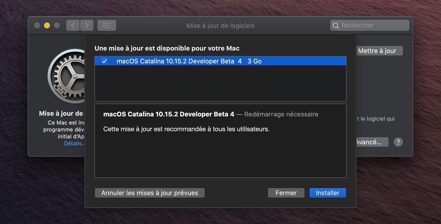 macOS 10.15.2 Catalina Bêta 4