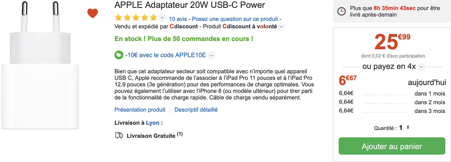 Chargeur USB-C 20 W Apple CDiscount