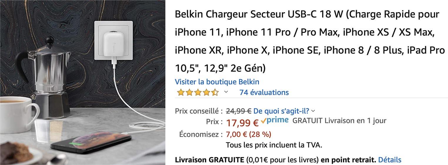 Chargeur 18 W Belkin Amazon
