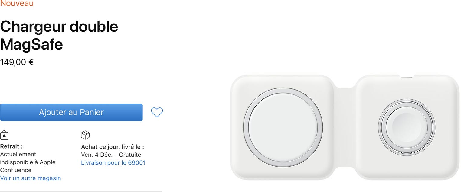 Chargeur double MagSafe Apple Store