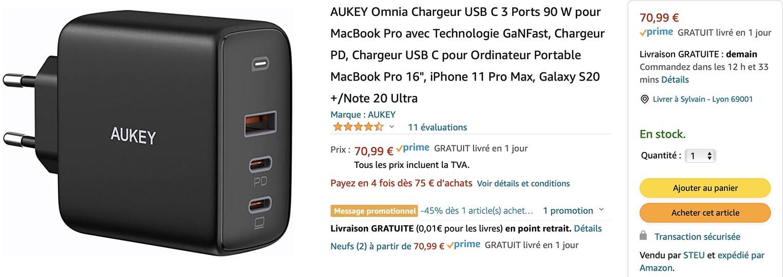 Chargeur GaN Aukey Amazon