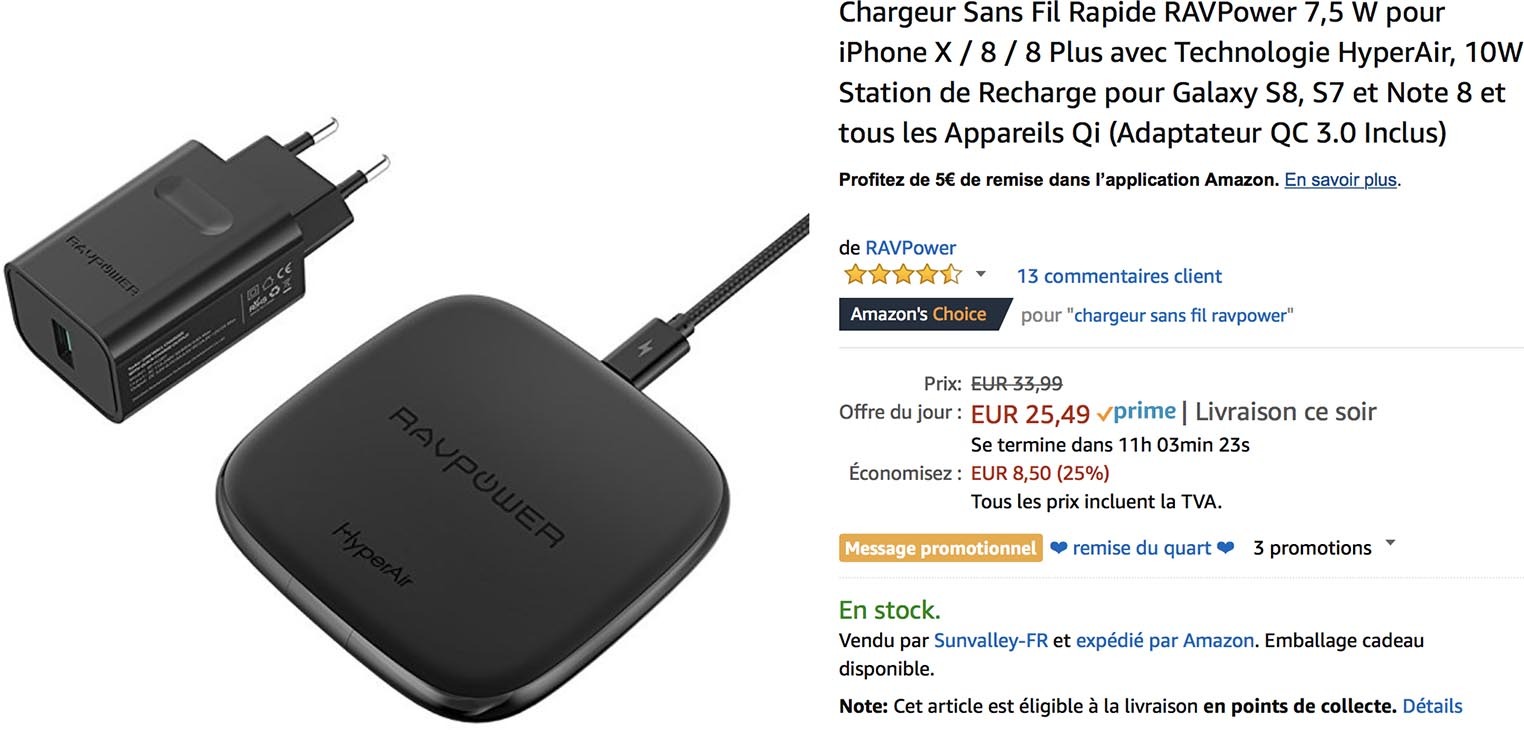 Chargeur induction RAVPower promo Amazon