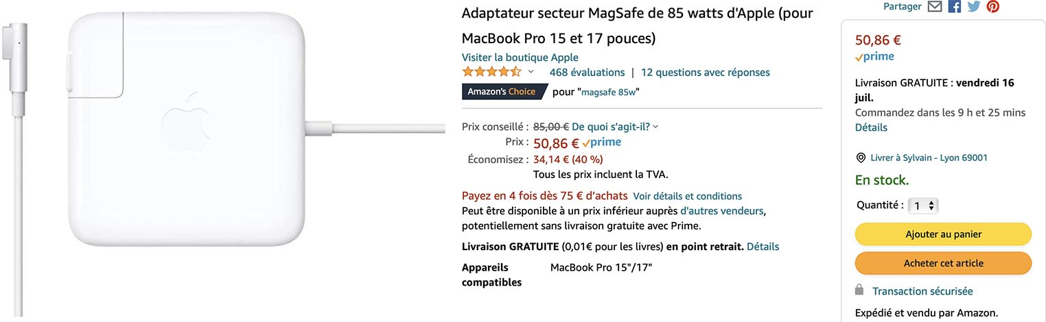 Chargeur MagSafe MacBook Pro Amazon