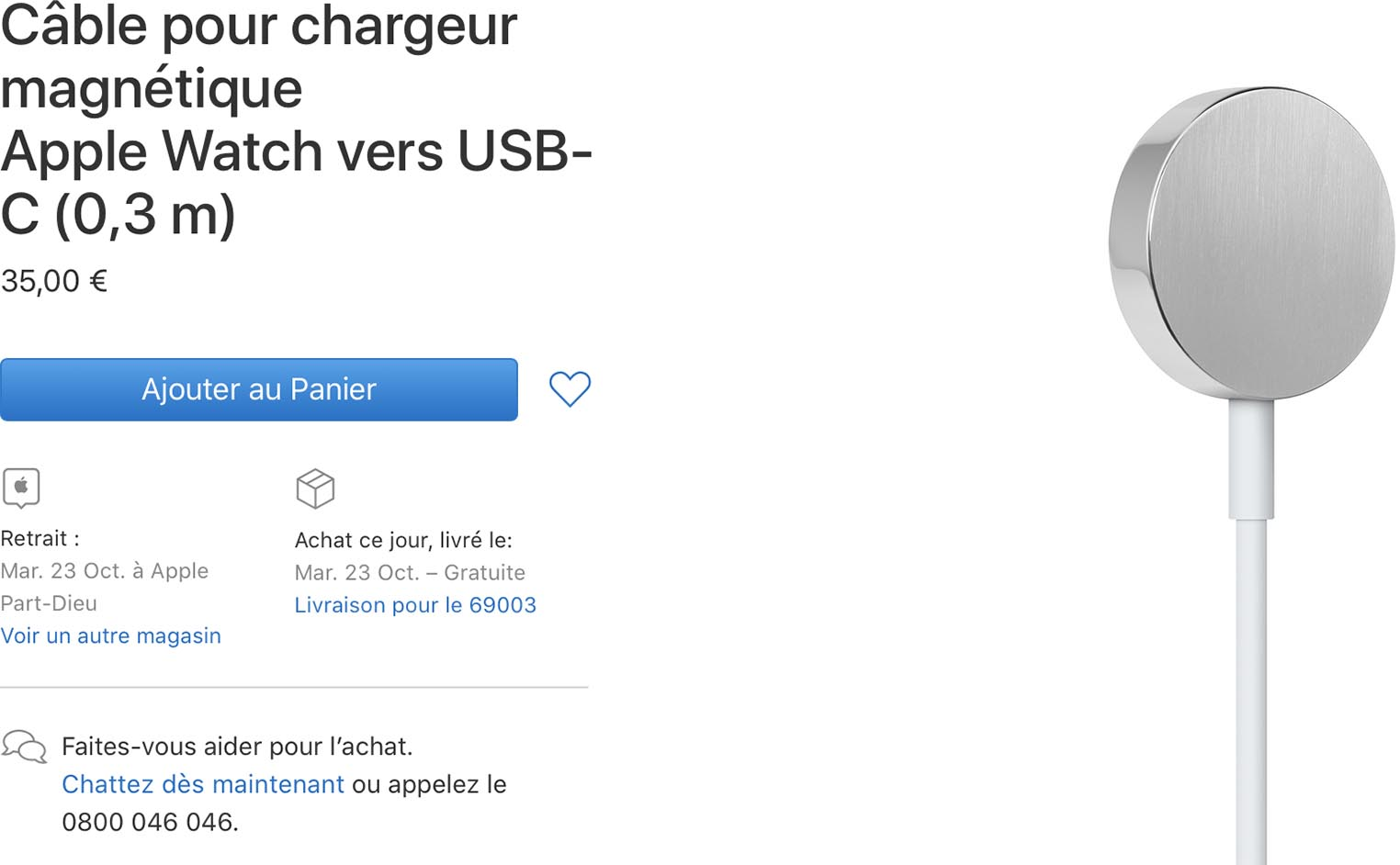 Chargeur USB-C Apple Watch