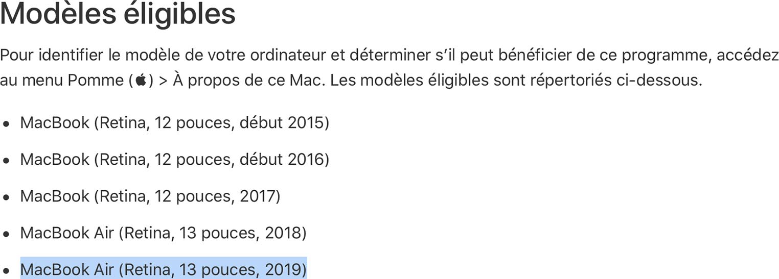 MacBook Air 2019 programme réparation clavier