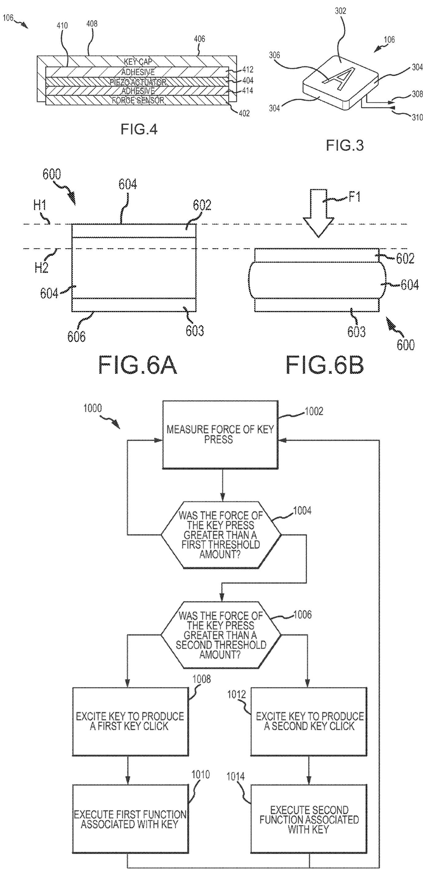 Clavier Force Touch Apple brevet