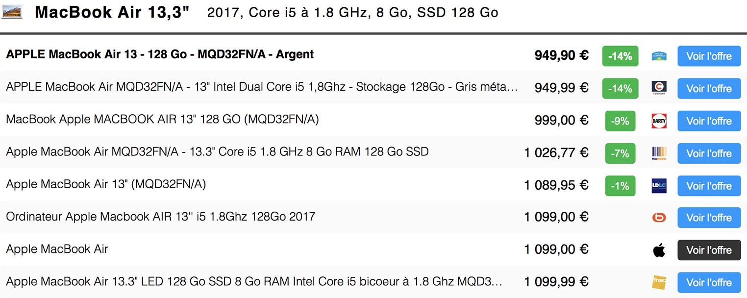 Comparateur de prix Consomac MacBook Air