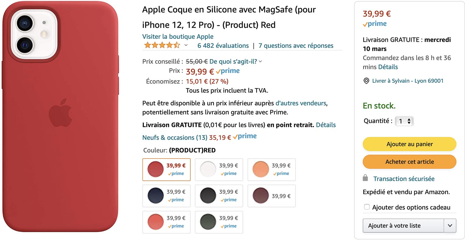 Coque MagSafe iPhone 12 rouge Amazon
