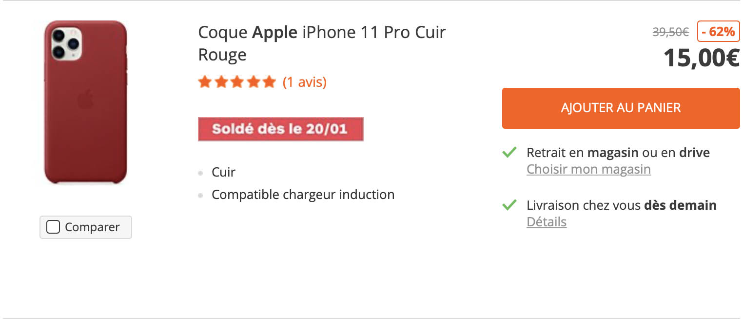 Coque iPhone 11 Pro cuir soldes Boulanger