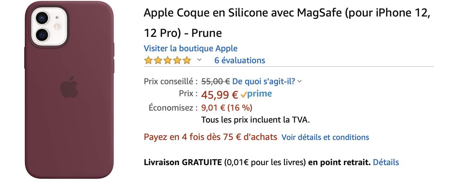 Coque Silicone iPhone 12 promo Amazon