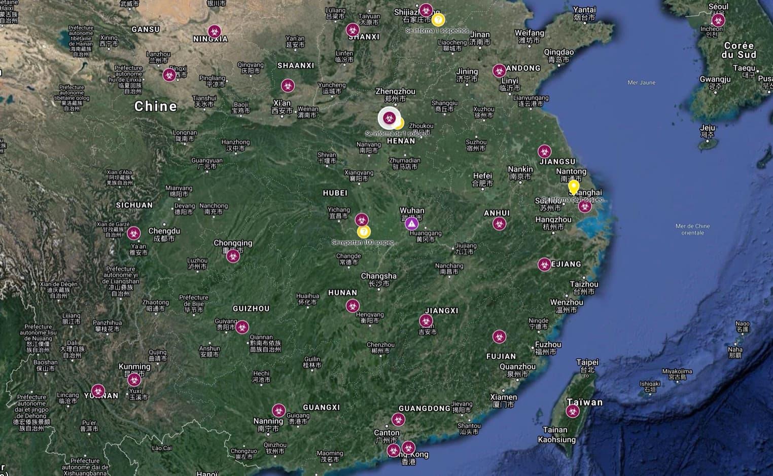 Carte de l'épidémie de coronavirus en Chine, au 28 janvier 2020