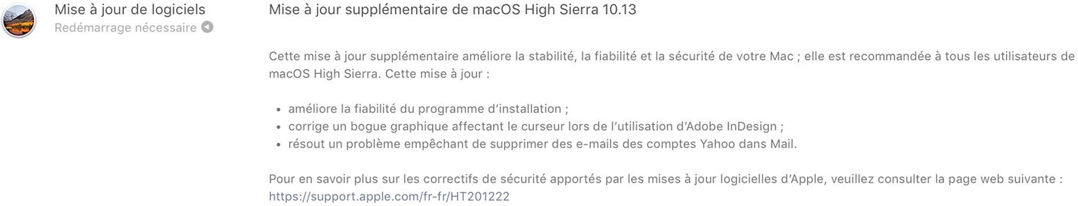 Correctif macOS High Sierra