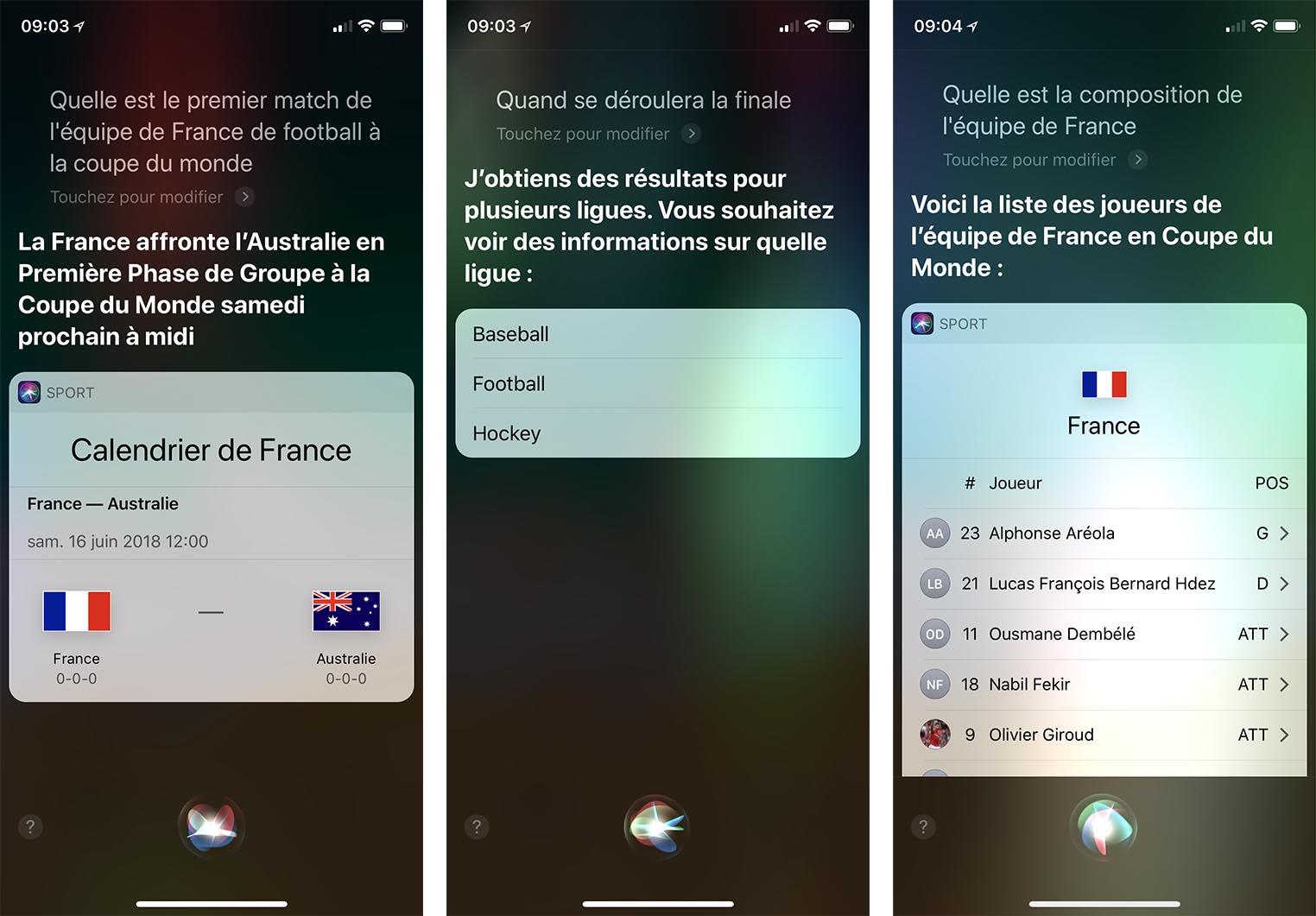 Siri Coupe du monde 2018
