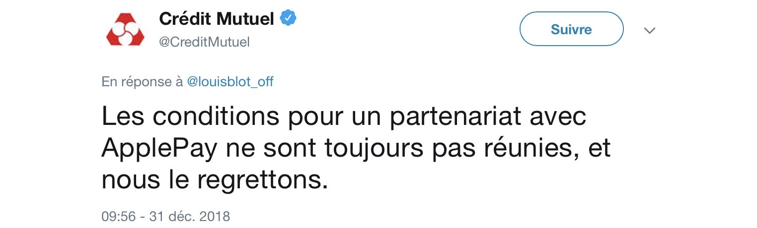 Crédit Mutuel Apple Pay tweet