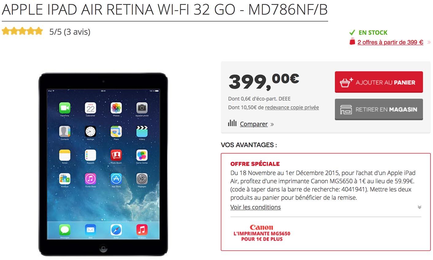 iPad Air Promo imprimante Darty