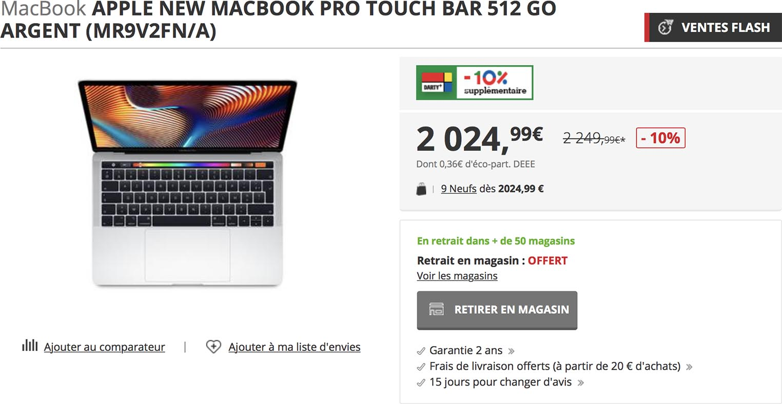 MacBook Pro promo Darty