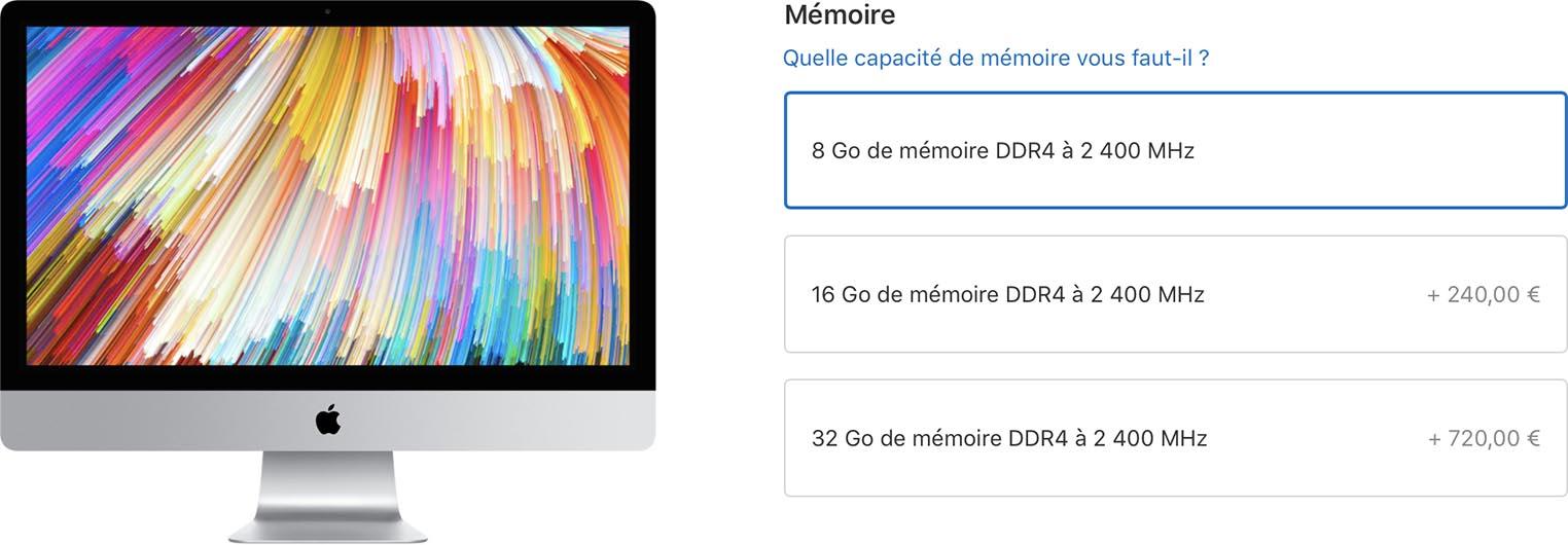 Prix RAM iMac 2017