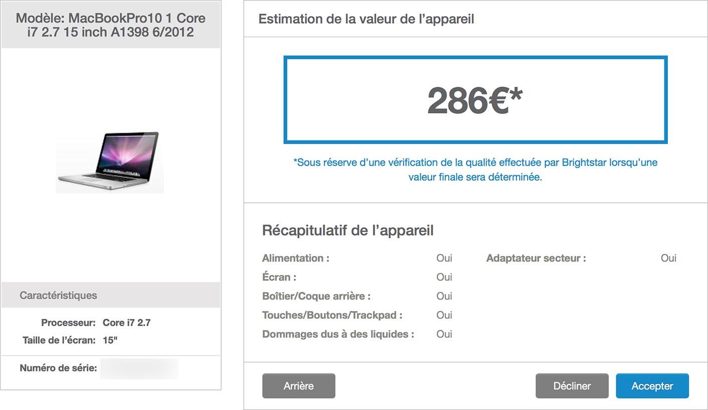 Estimation MacBook Pro