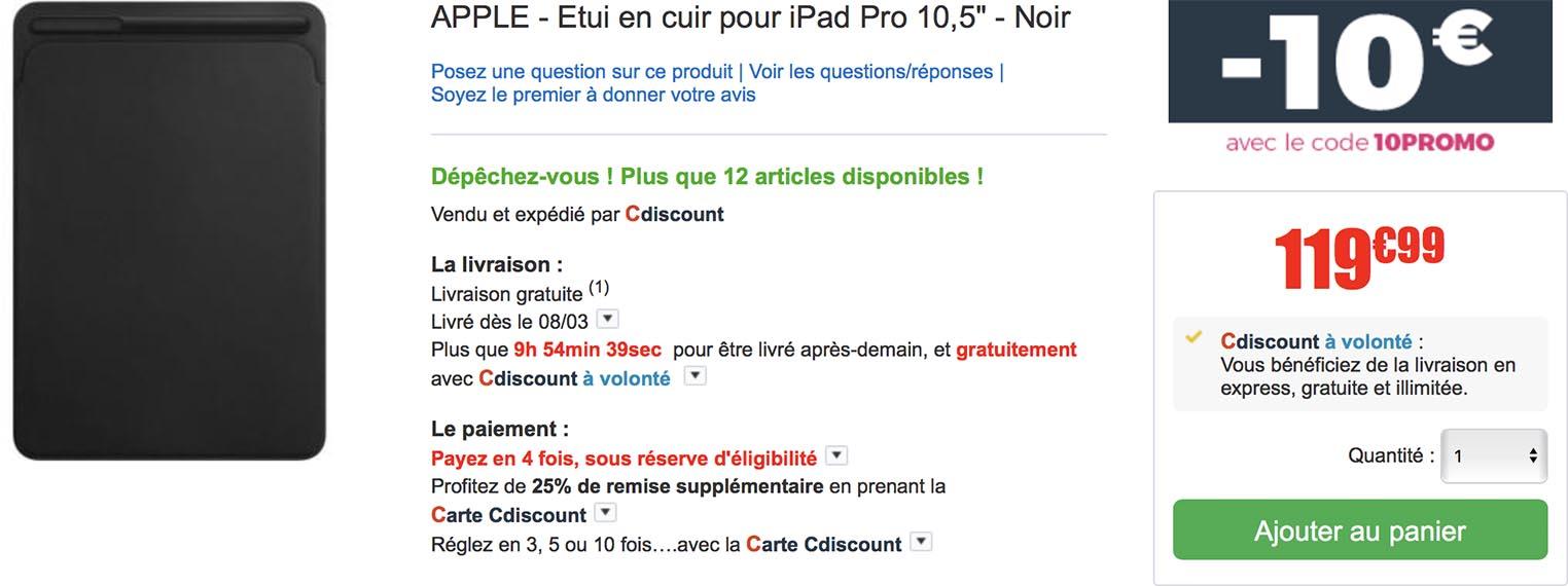 Etui iPad Pro promo CDiscount