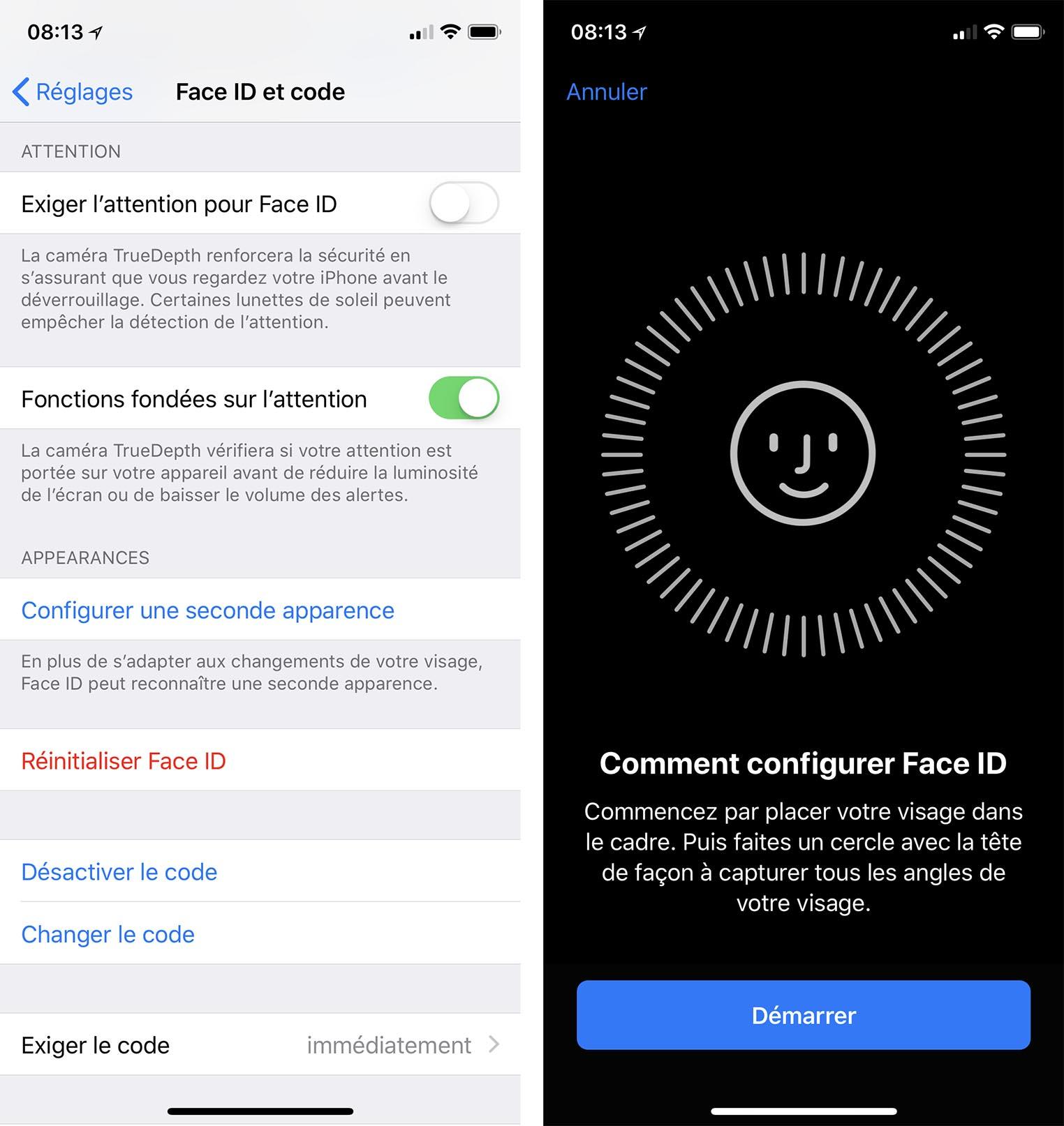Face ID deux visages iOS 12