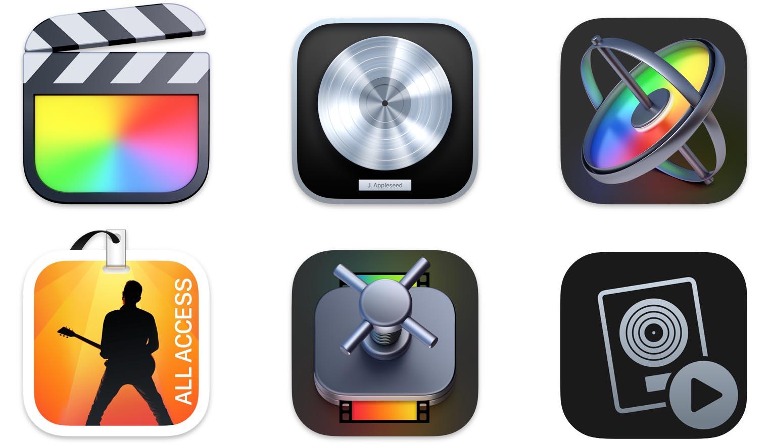 Final Cut Pro Logic Pro Big Sur icônes