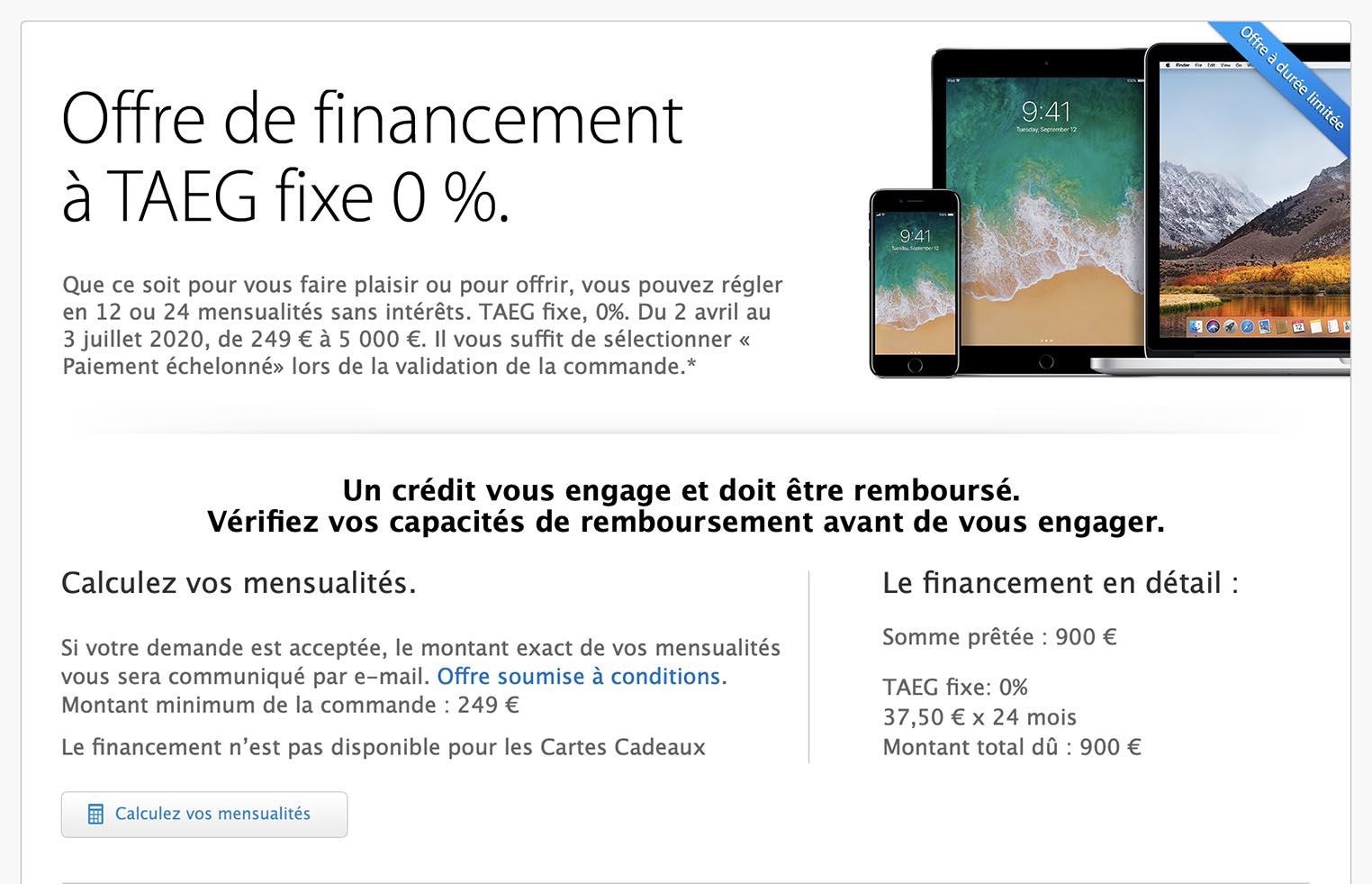 Financement 0% Apple